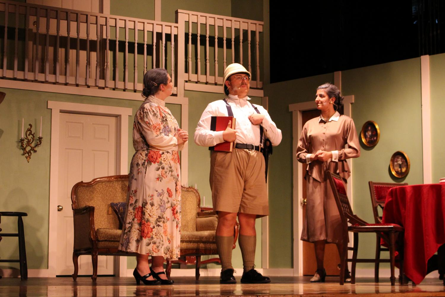 Sophia Nappa (left) as Abby Brewster, Noah Santiago (middle) as Teddy Roosevelt, and Veronica Angiuli (right) as Martha Brewster.