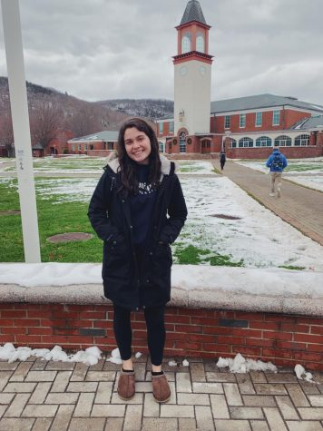 Michelle pictured at the snowy quad.